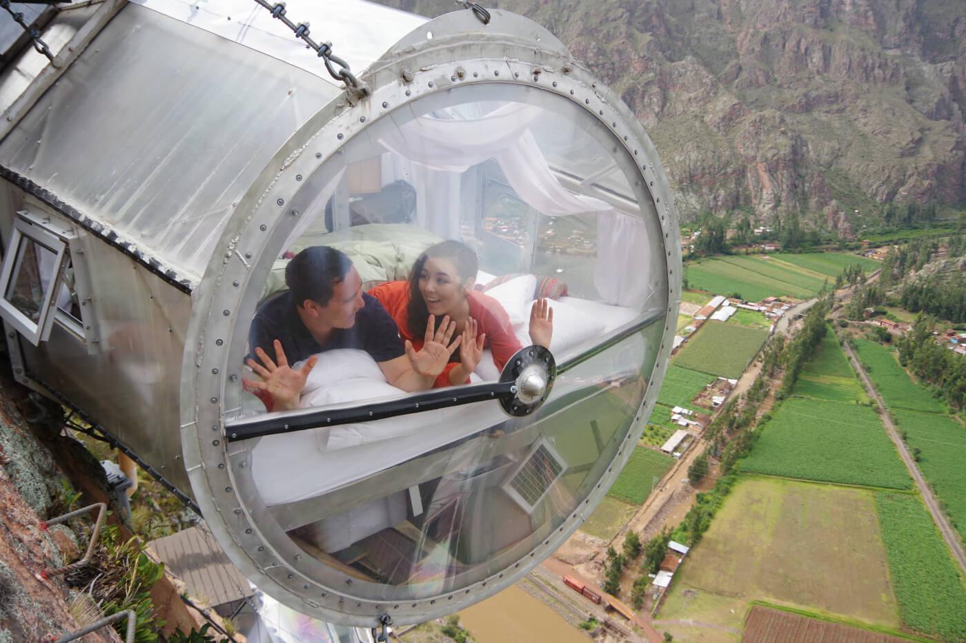cusco skylodge suite capsula pareja