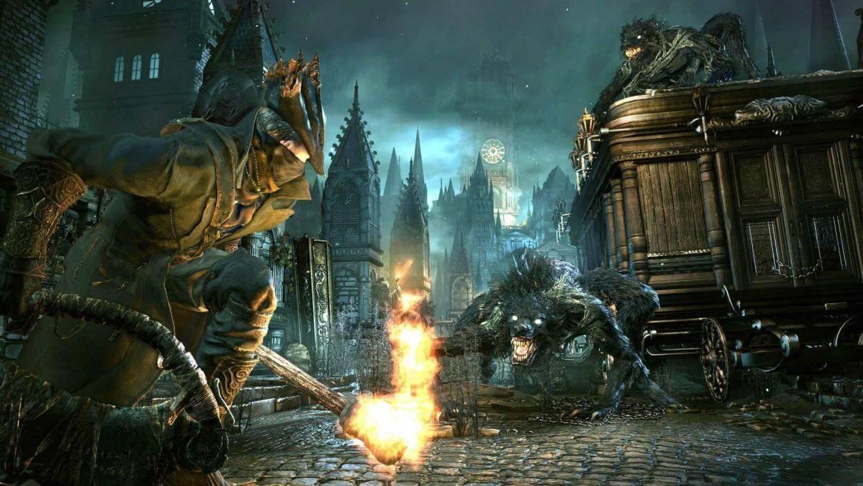 Bloodborne, Cazador se enfrenta a hombres lobo