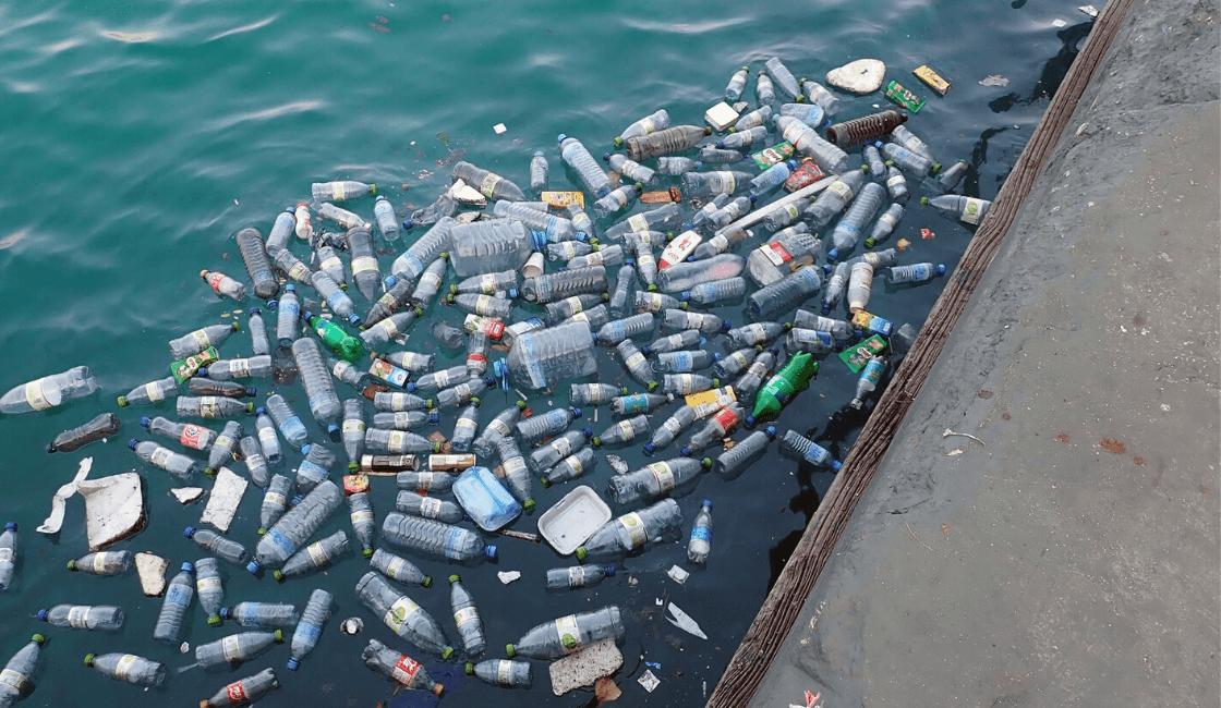playa contaminada con botellas de plastico