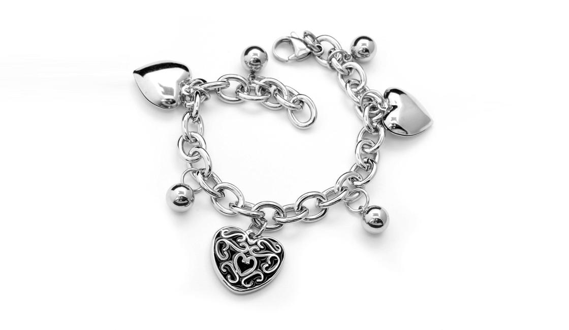 joyas de acero pulsera corazones
