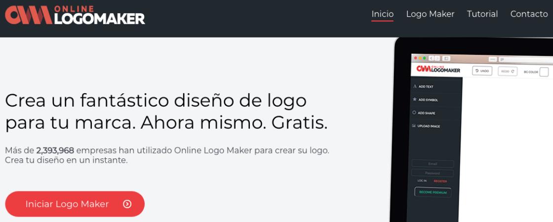 Online Logo Maker home page - programas online para crear logos modernos gratis