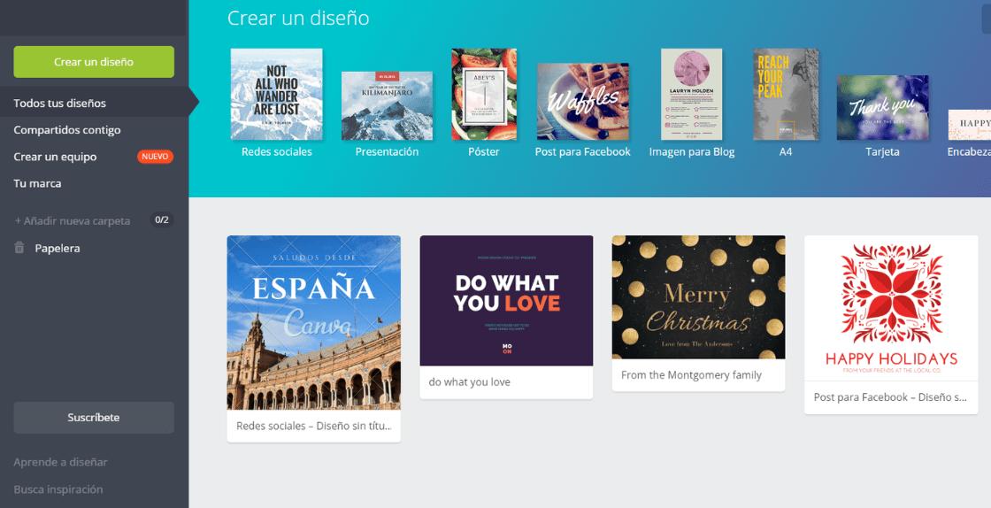 Home page de Canva - 10 programas online para crear logos modernos gratis