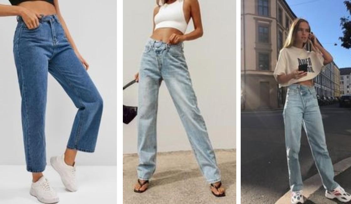 Jeans rectos a la cintura