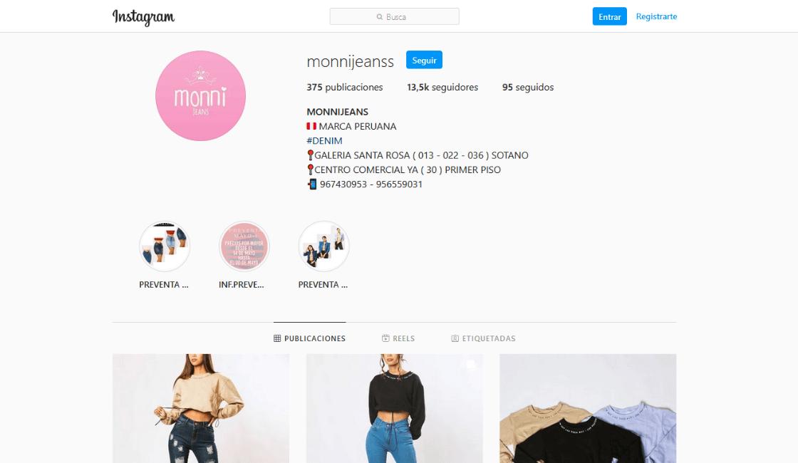 monni jeans entre las tiendas de ropa online en Perú