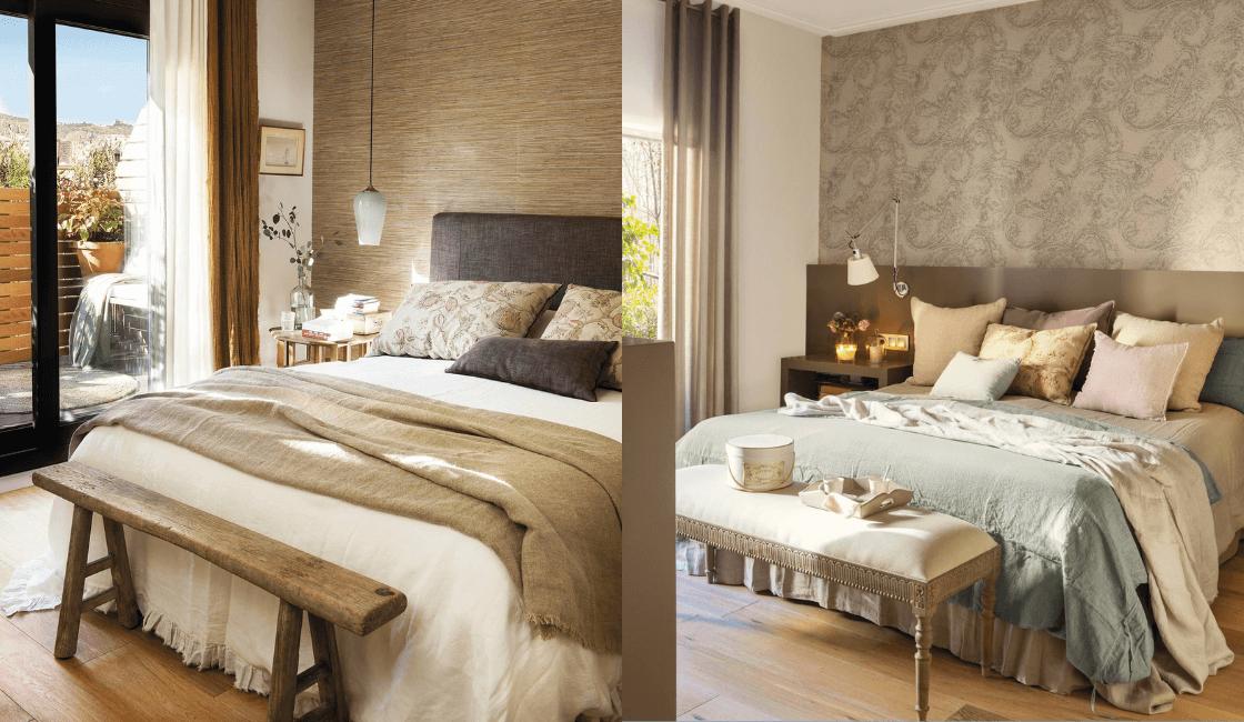 Dormitorio color marron y cafe elegante