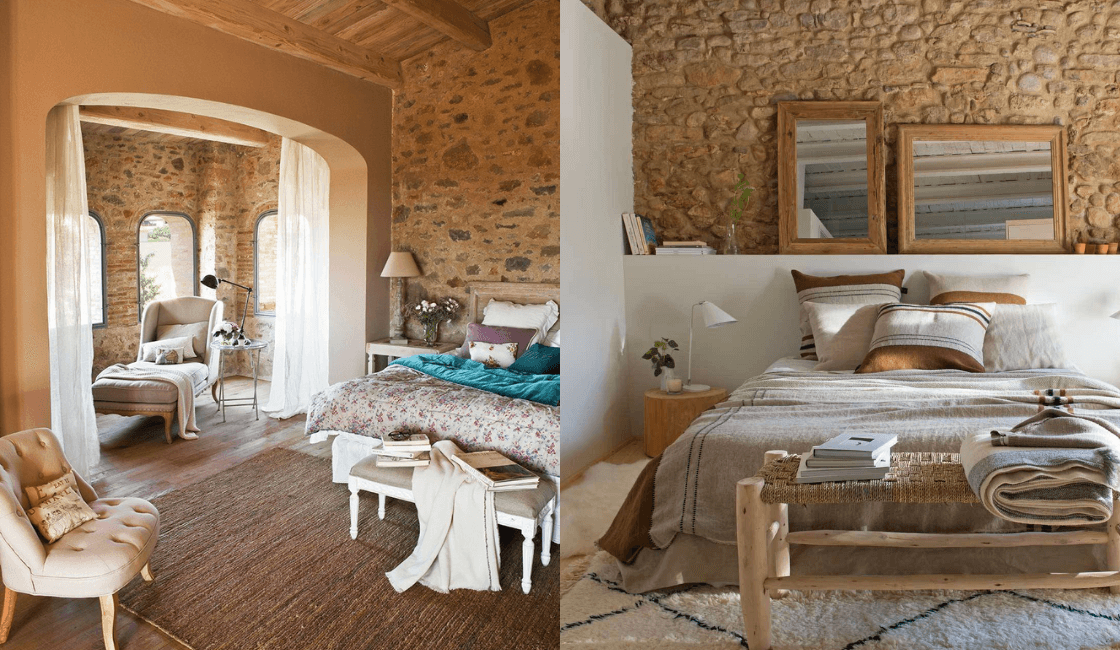 Dormitorios color madera y piedra