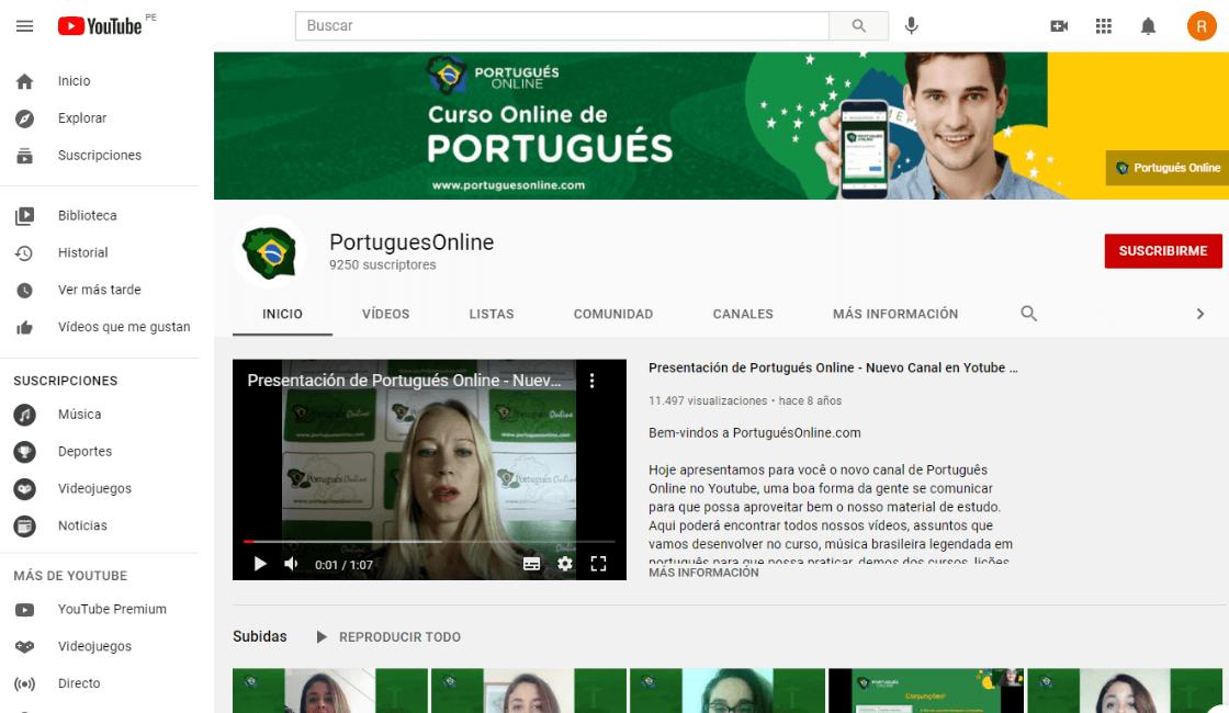 Portuguesonline.com canal gratuito para aprender portugues