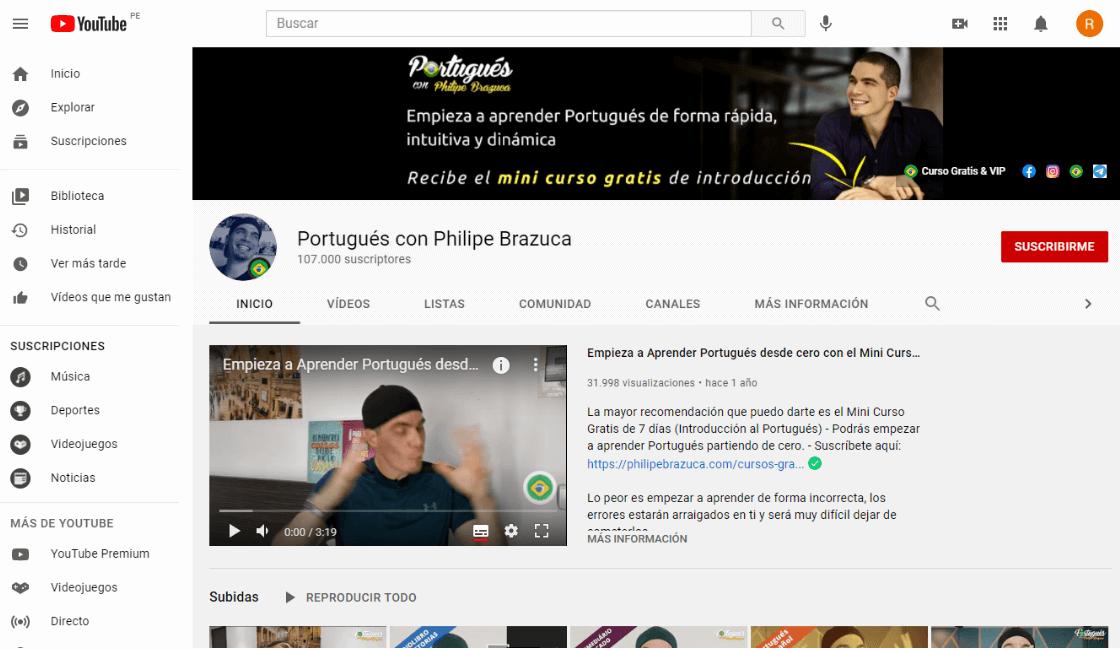 portugues con phillipe brazuca entre los cursos gratis de portugués