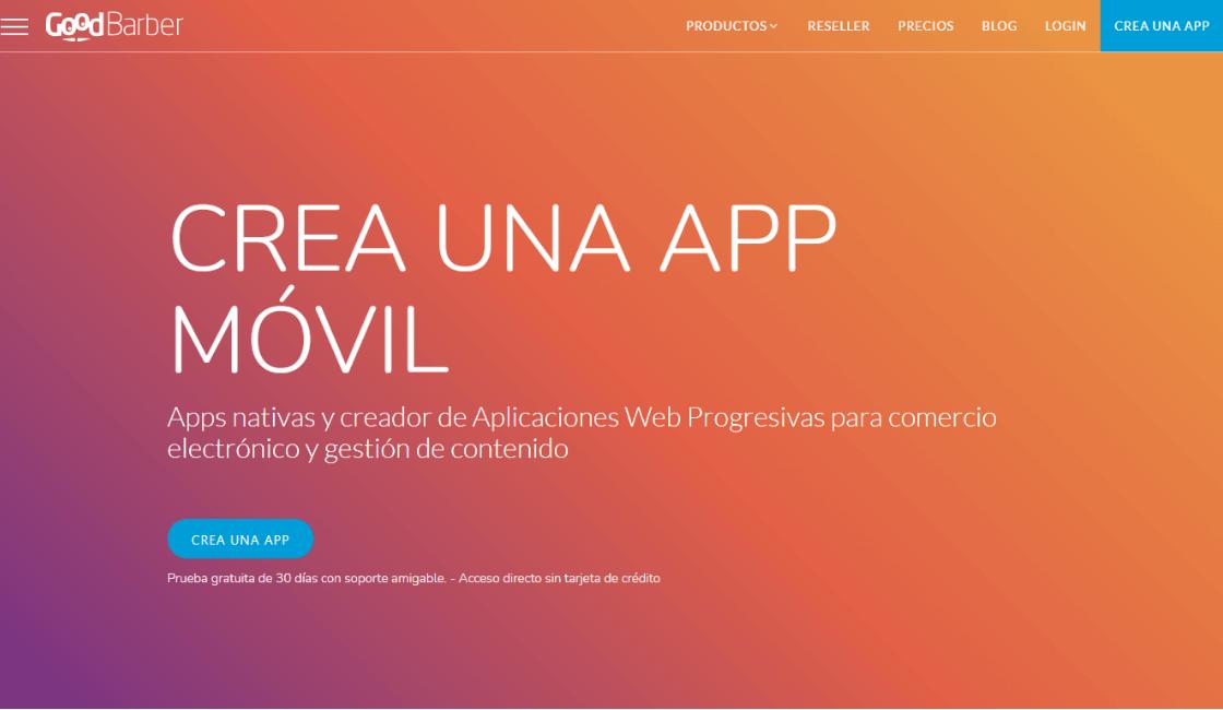 goodbarber plataformas para crear una app