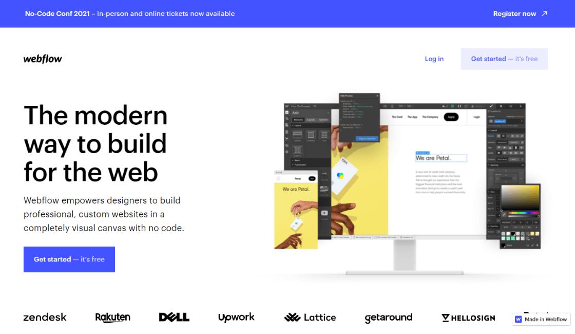 webflow entre las paginas web para crear una app